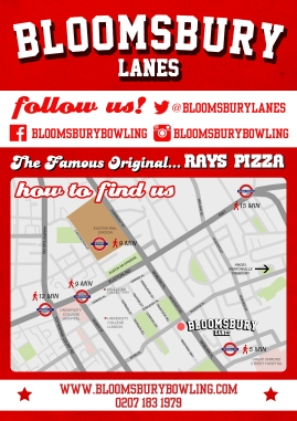 Ray's Pizza flyer - back, with map (Bloomsbury Lanes)