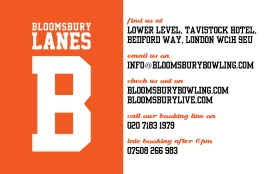 Business card front (Bloomsbury Lanes)