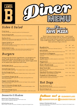 Diner menu - food side (Bloomsbury Lanes)