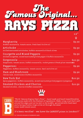 Ray's Pizza menu (Bloomsbury Lanes)