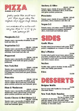 Pizza menu inner (Bristol Lanes)