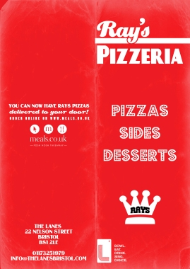 Pizza menu outer (Bristol Lanes)