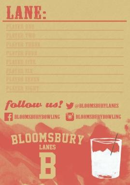 Bowling name pad (Bloomsbury Lanes)