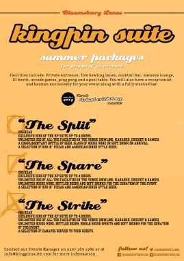Kingpin Suite summer packages (Bloomsbury Lanes)
