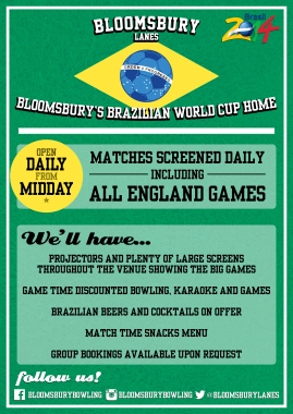 World Cup poster (Bloomsbury Lanes)